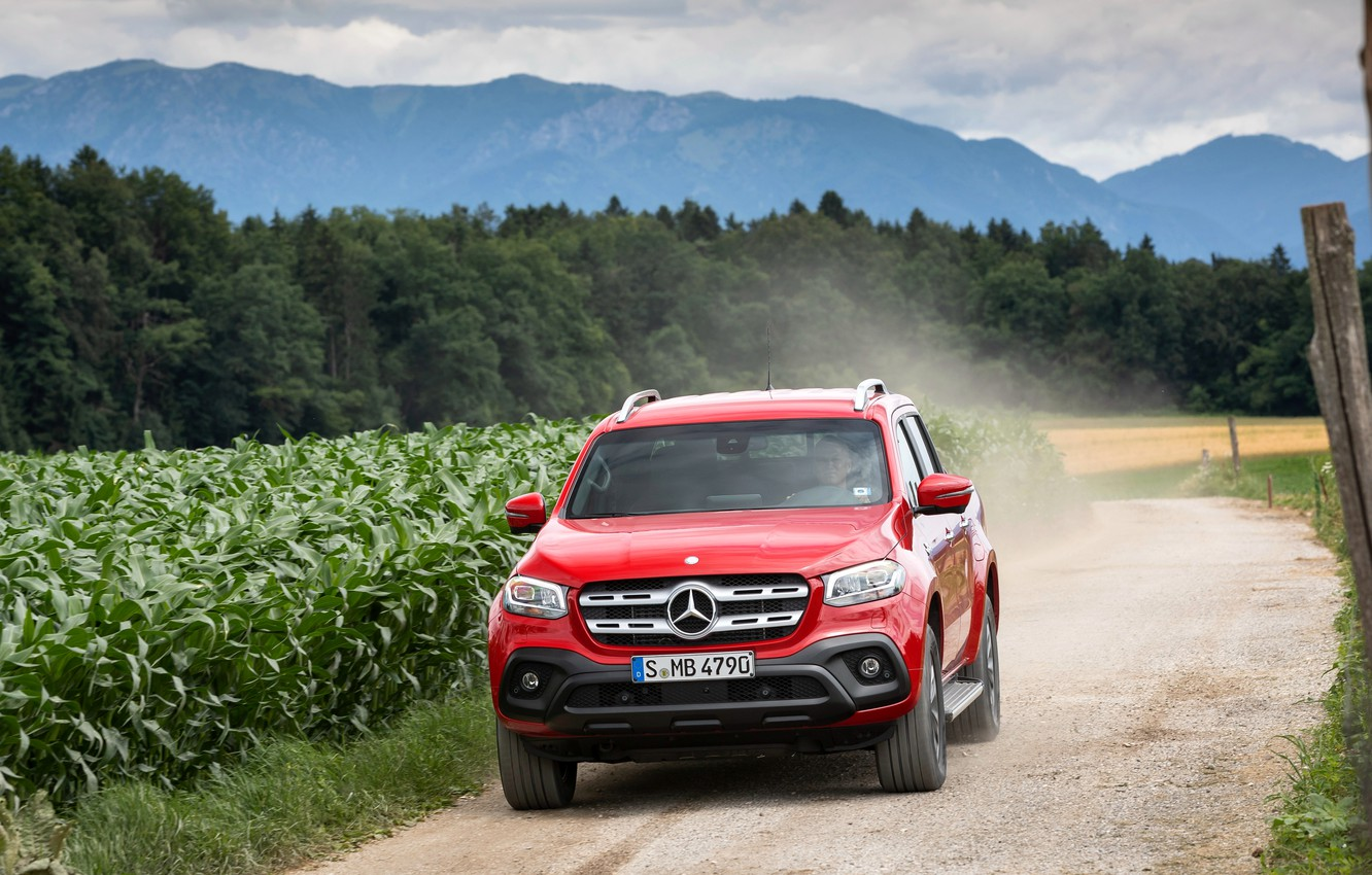 Photo wallpaper red, Mercedes-Benz, pickup, crops, primer, 2018, X-Class