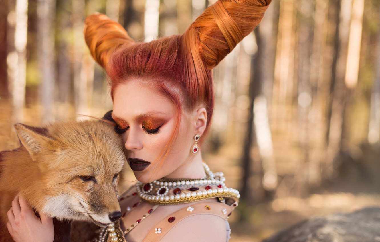 Photo wallpaper girl, decoration, face, style, mood, makeup, Fox, horns, red, hairstyle, redhead, closed eyes, Ekaterina Bulavina