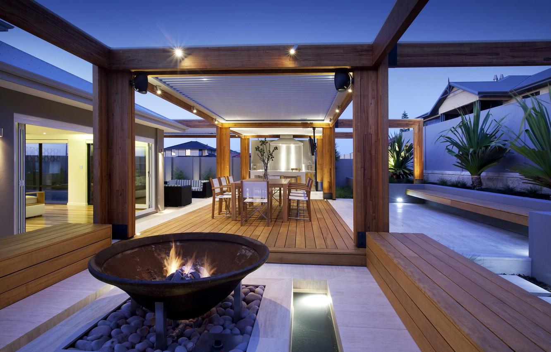 Photo wallpaper light, photo, bench, terrace