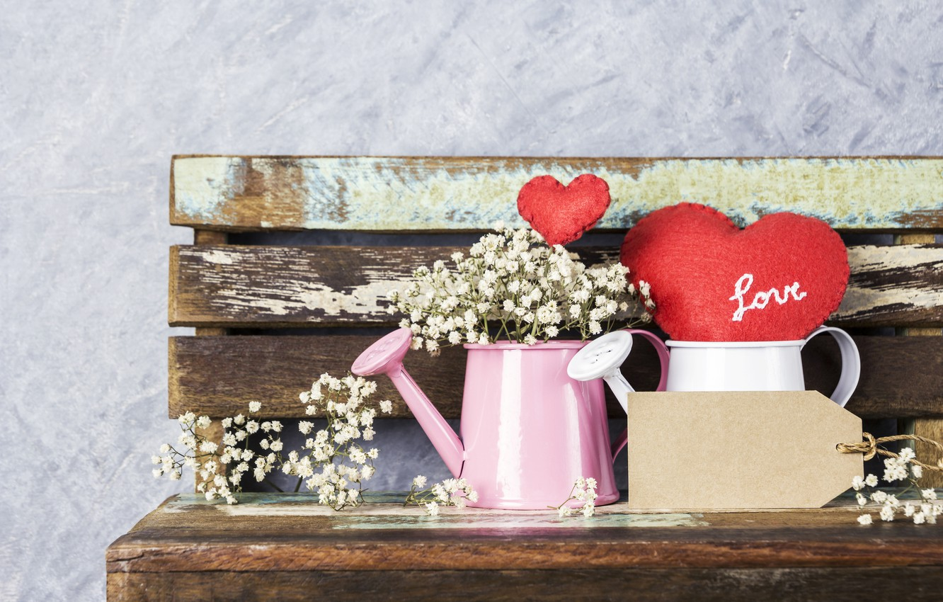 Photo wallpaper love, flowers, heart, red, love, vintage, heart, wood, flowers, beautiful, romantic
