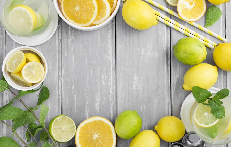 Photo wallpaper lemon, lime, citrus, drink, citrus, mint, lemonade