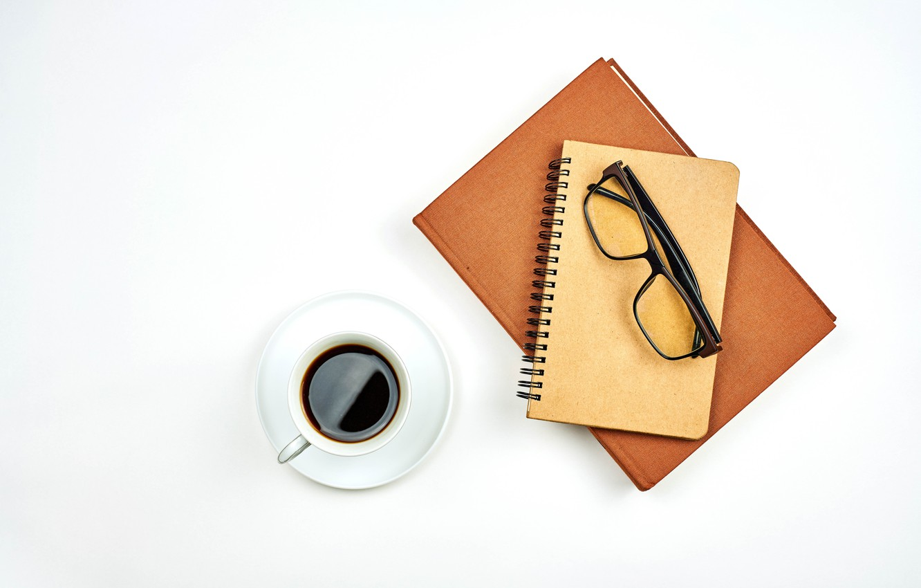 Photo wallpaper coffee, glasses, Cup, white background, Notepad, notebook, saucer