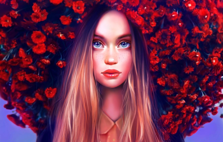 Photo wallpaper Girl, Beautiful, Art, Flowers, Eyes, Face, Lips, Maka Zedelashvili