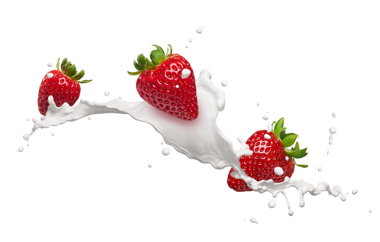 Photo wallpaper drops, squirt, milk, strawberry, berry, white background, red