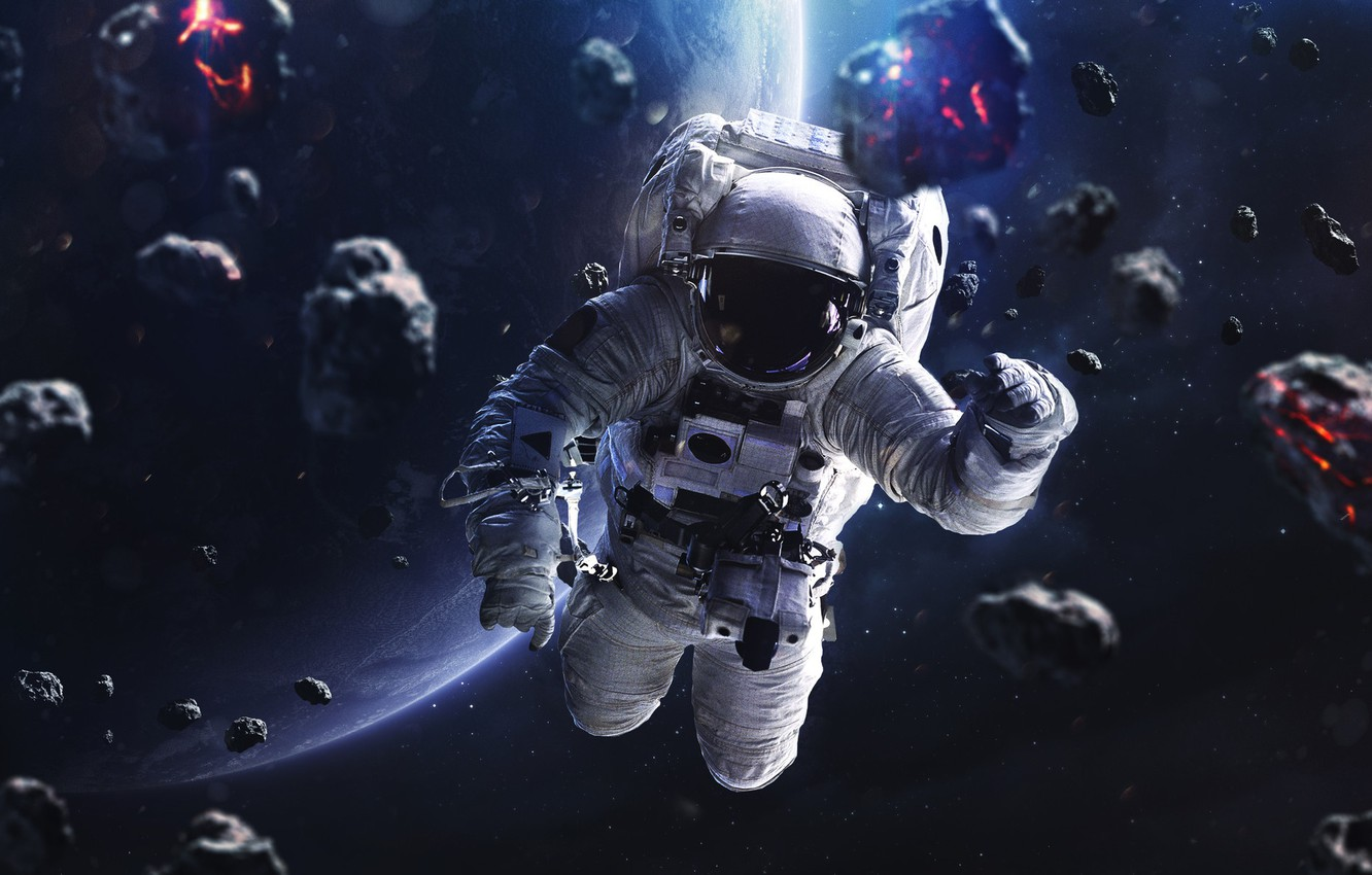 Photo wallpaper Stars, The suit, People, Planet, Space, Astronaut, Costume, Astronaut, Art, Stars, Space, Art, Planet, Universe, ...