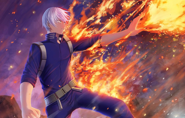 Photo wallpaper fire, hero, guy, student, fad, My Hero Academia, Boku No Hero Academy, Todoroki Shoto, My …