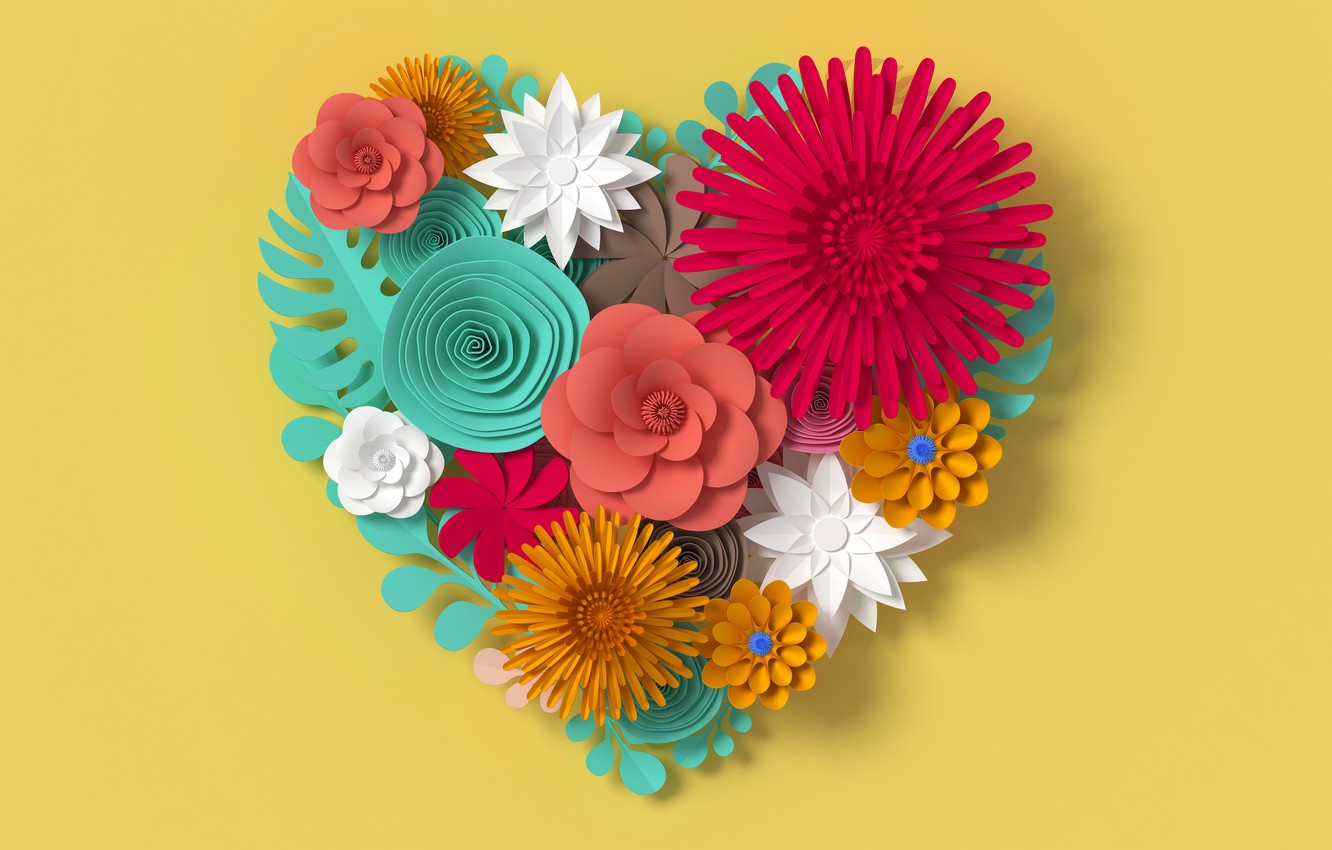 Photo wallpaper flowers, rendering, pattern, heart, colorful, love, heart, flowers, composition, rendering, paper, composition, floral