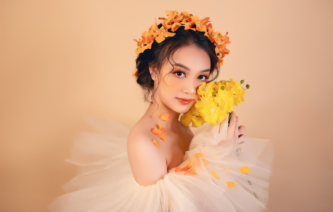 Photo wallpaper look, girl, bouquet, Asian, wreath