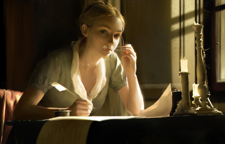 Photo wallpaper girl, pen, candle, art, jingyu shen
