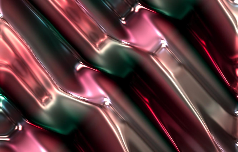 Photo wallpaper line, metal, abstraction, green, pink, diagonal, metallic, plasma, melting, diffusion, mixing
