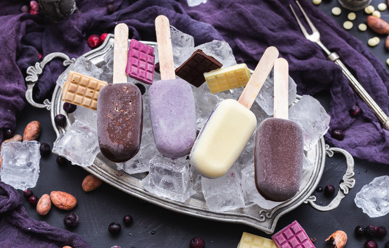 Photo wallpaper chocolate, ice cream, Popsicle, tray, ice cubes