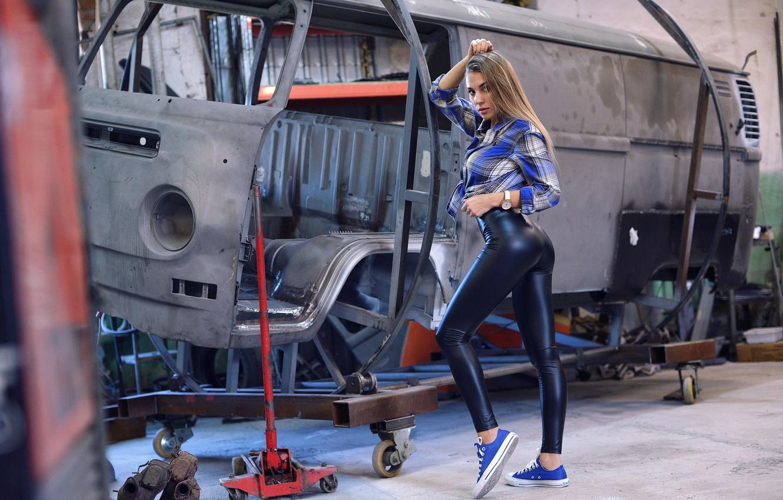 Photo wallpaper ass, pose, Girl, shirt, legs, Vyacheslav Ivakhnenko, Yulia Fedoseeva