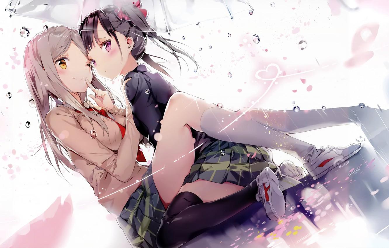 Photo wallpaper Girls, Rain, Umbrella, sakura trick