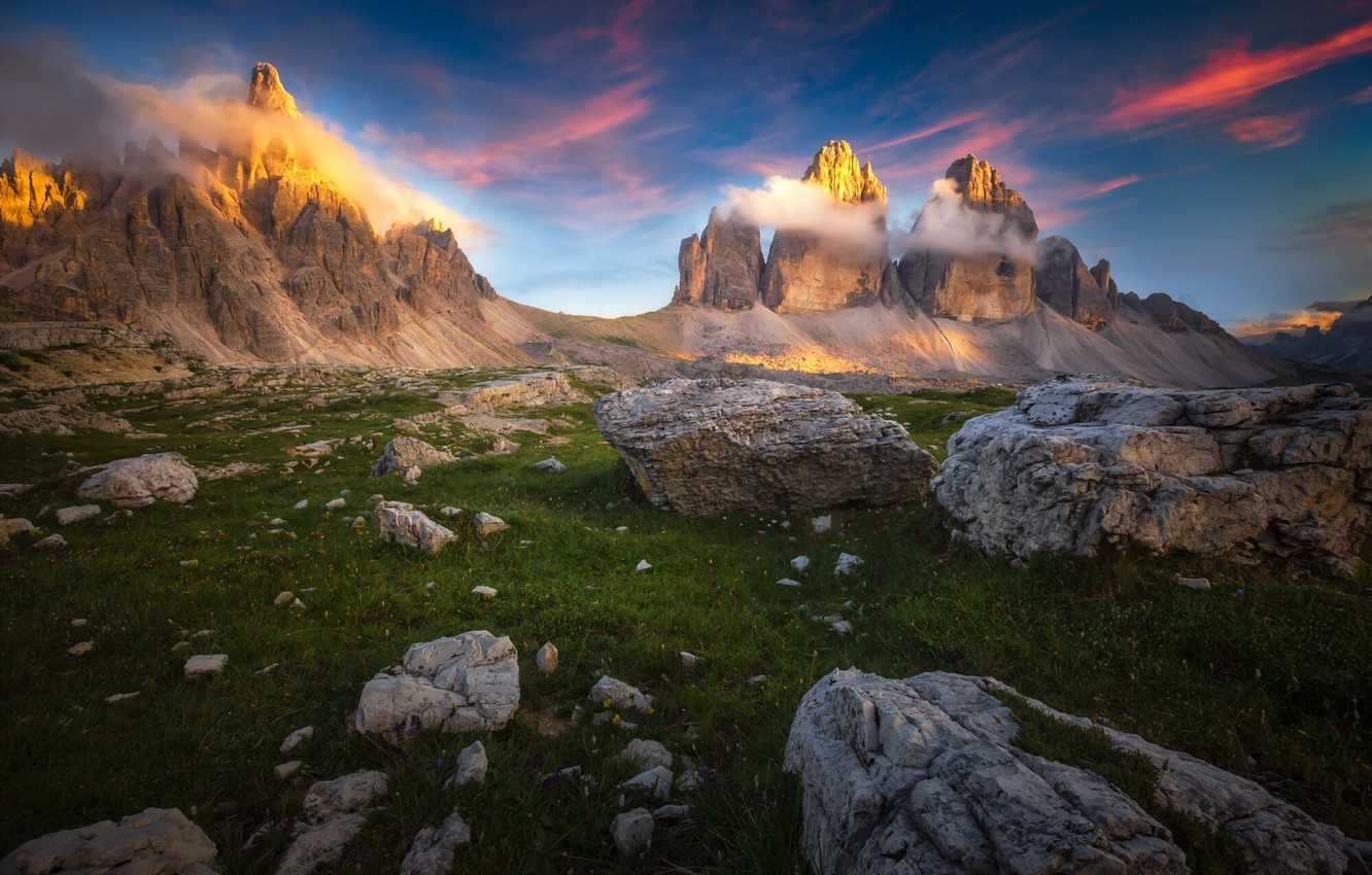 Photo wallpaper clouds, landscape, sunset, mountains, nature, stones, Italy, The Dolomites