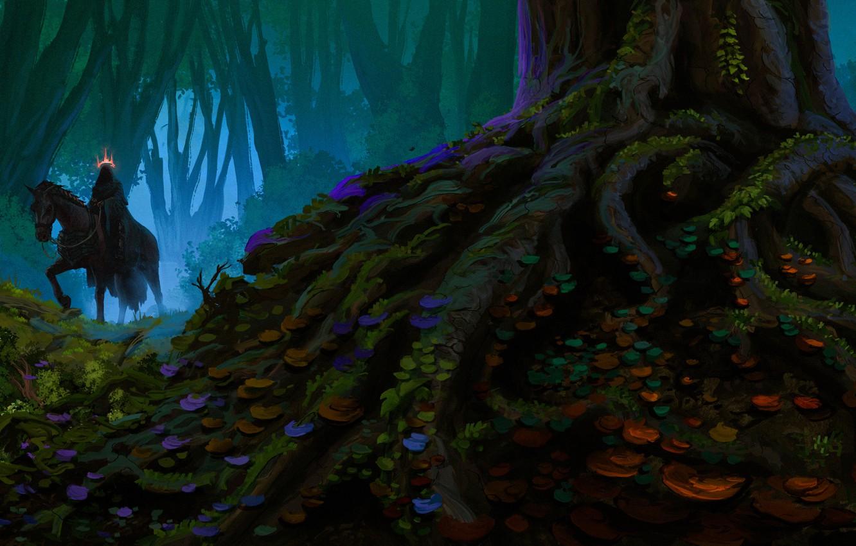 Photo wallpaper forest, fog, horse, fantasy, Nazgul, by Anato Finnstark