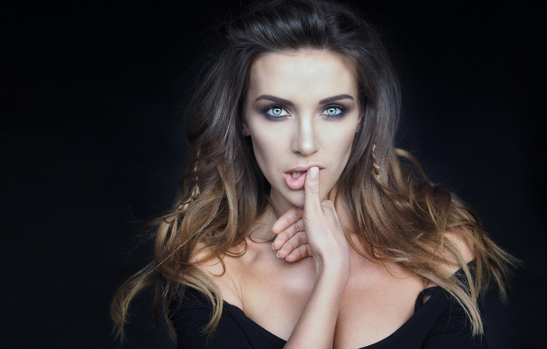 Photo wallpaper girl, green eyes, long hair, dress, photo, photographer, model, lips, face, blonde, black dress, portrait, …