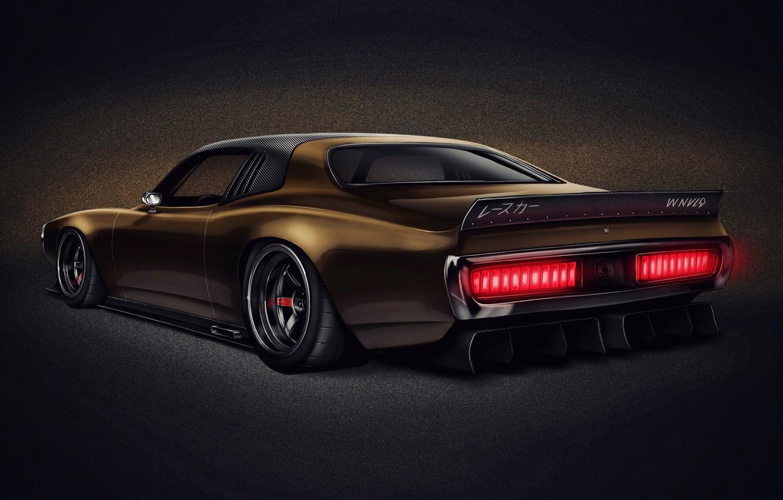 Photo wallpaper Auto, Figure, Retro, Machine, Car, Art, Dodge Charger, Transport & Vehicles, Dodge Charger 1974, by …
