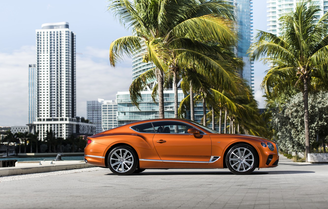 Photo wallpaper coupe, Bentley, 2019, Continental GT V8, at the pier