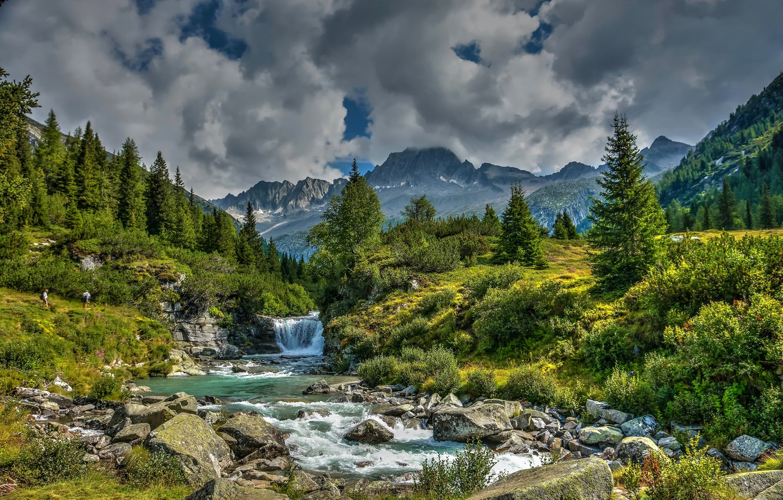 Photo wallpaper trees, mountains, stream, waterfall, valley, Alps, Italy, river, Italy, Alps, Trentino, Trentino, Val di Fumo, …