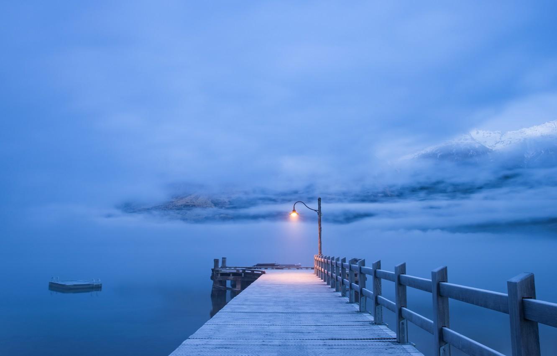 Photo wallpaper fog, pier, pierce, lantern