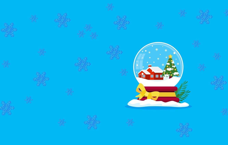 Photo wallpaper mood, new year, minimalism, vector, art, snow globe