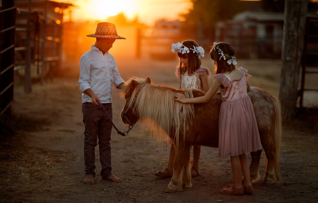Photo wallpaper children, pony, bokeh