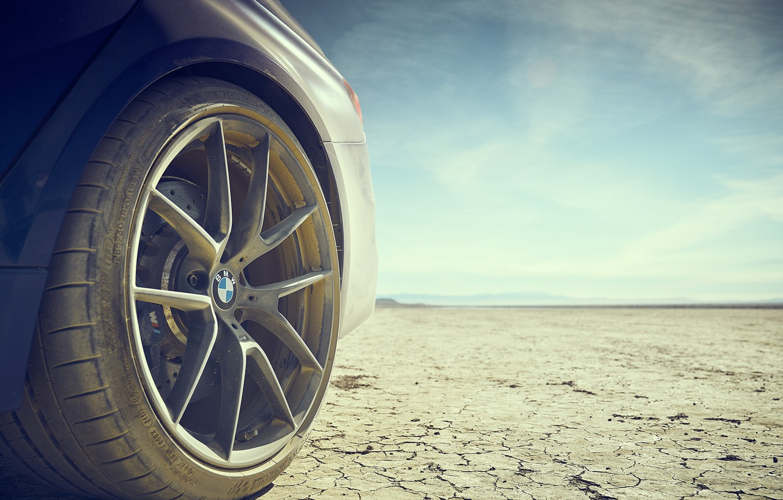 Photo wallpaper dust, BMW, blue, dry lake