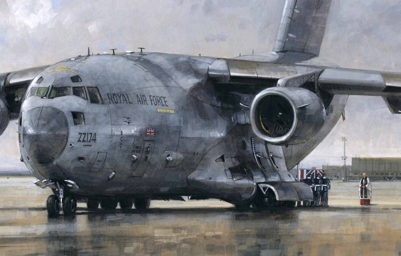 Photo wallpaper the plane, figure, Boeing, the airfield, the priest, C-17 Globemaster, military transport, the ceremony, RAF