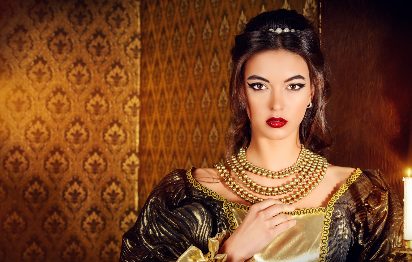 Photo wallpaper look, decoration, style, retro, background, fire, portrait, candle, makeup, dress, hairstyle, outfit, beads, brown hair, …