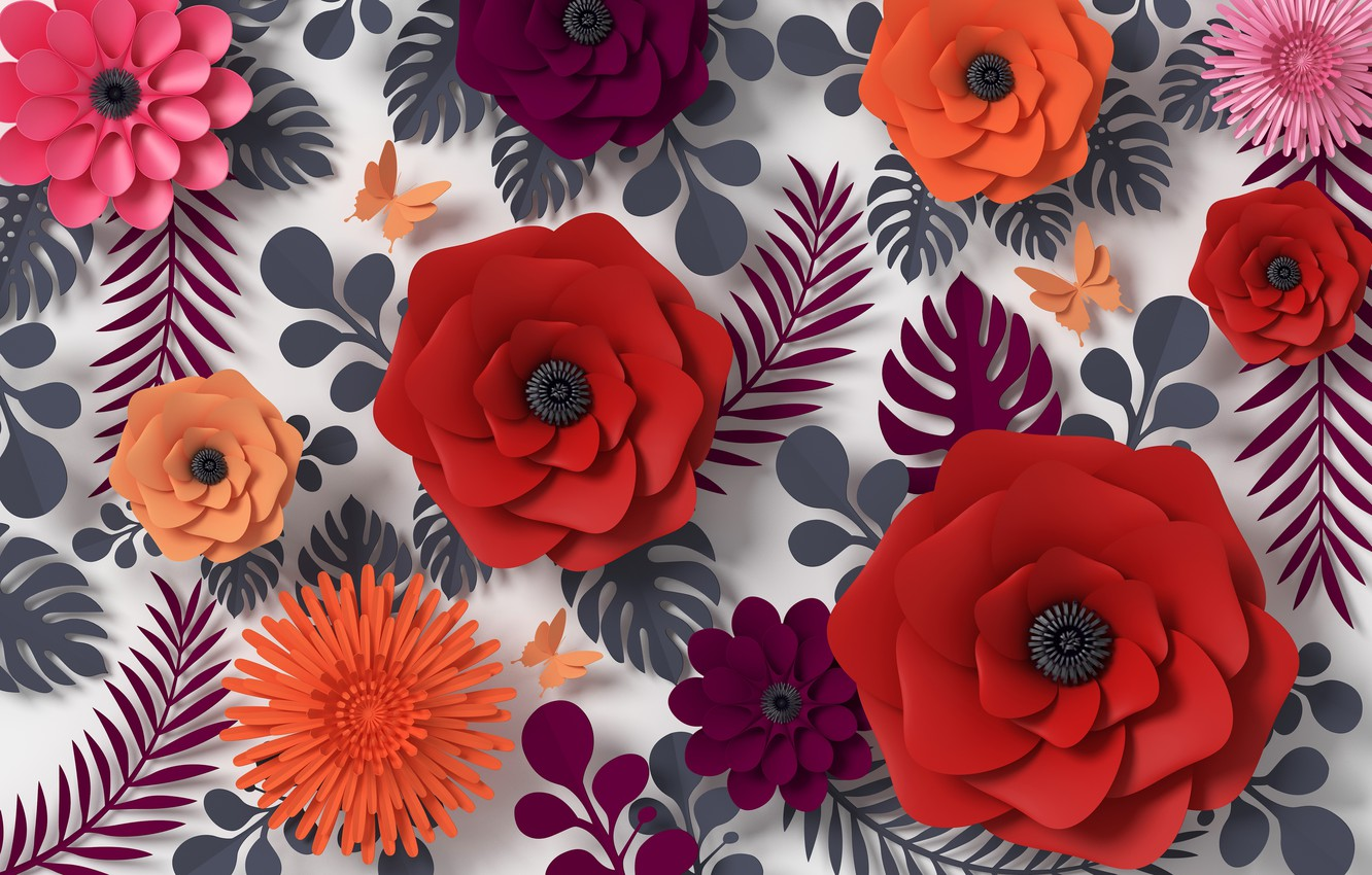 Photo wallpaper flowers, rendering, pattern, colorful, butterfly, flowers, composition, rendering, paper, composition, floral