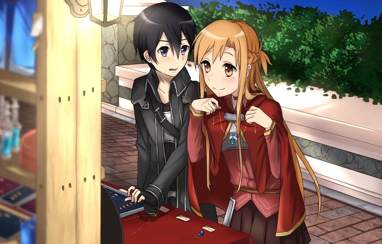 Photo wallpaper look, anime, art, guy, Sword art online, Sword Art Online, Asuna, Kirito, Date