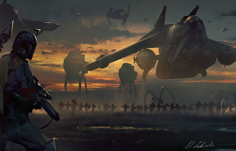 Photo wallpaper Star Wars, Boba Fett, Darek Zabrocki, by Darek Zabrocki, Control, Preparing to war