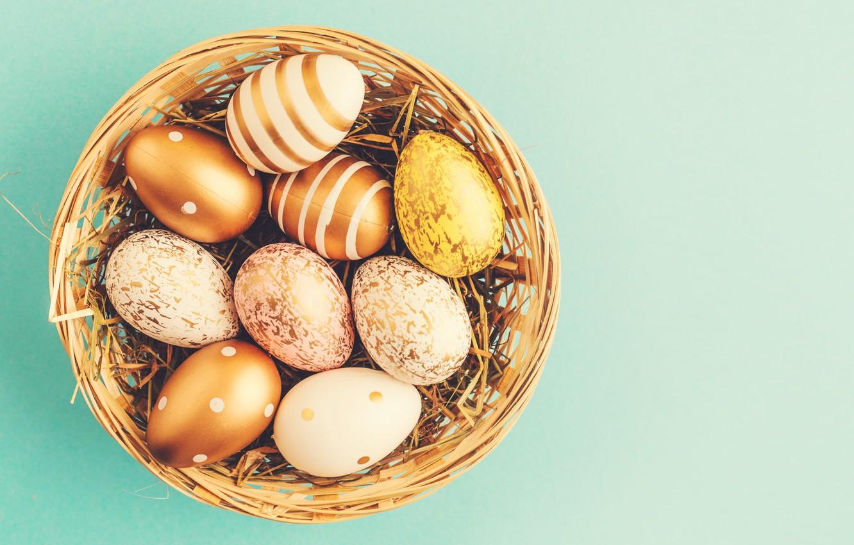 Photo wallpaper background, eggs, Easter, happy, basket, eggs, easter, decoration, basket