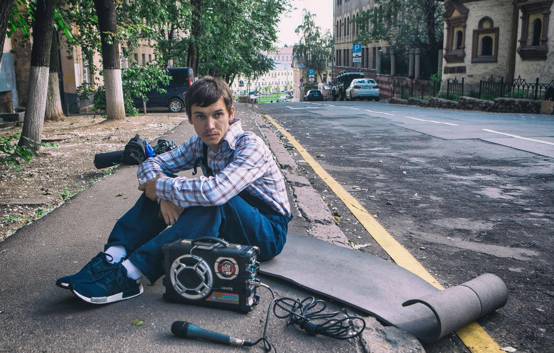 Photo wallpaper asphalt, street, microphone, Boombox, Russian hip-hop performer, Anton MC, Anton Kuznetsov