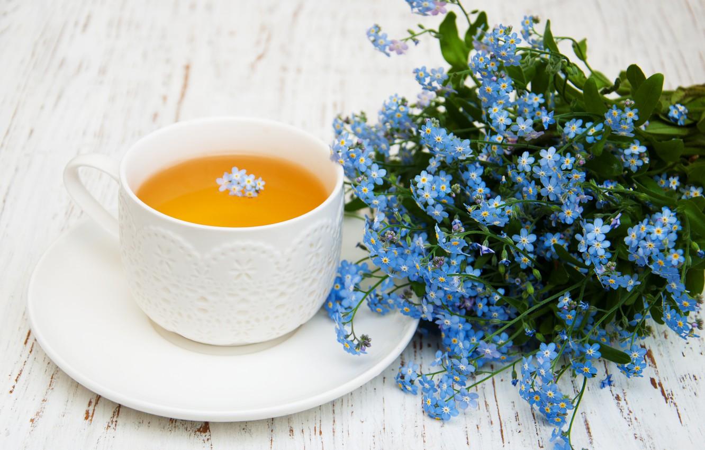 Photo wallpaper table, tea, bouquet, Cup, Olena Rudo