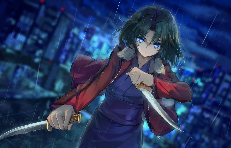 Photo wallpaper blade, killer, daggers, evil eye, Shiki Ryougi, The garden of sinners, The war of the …