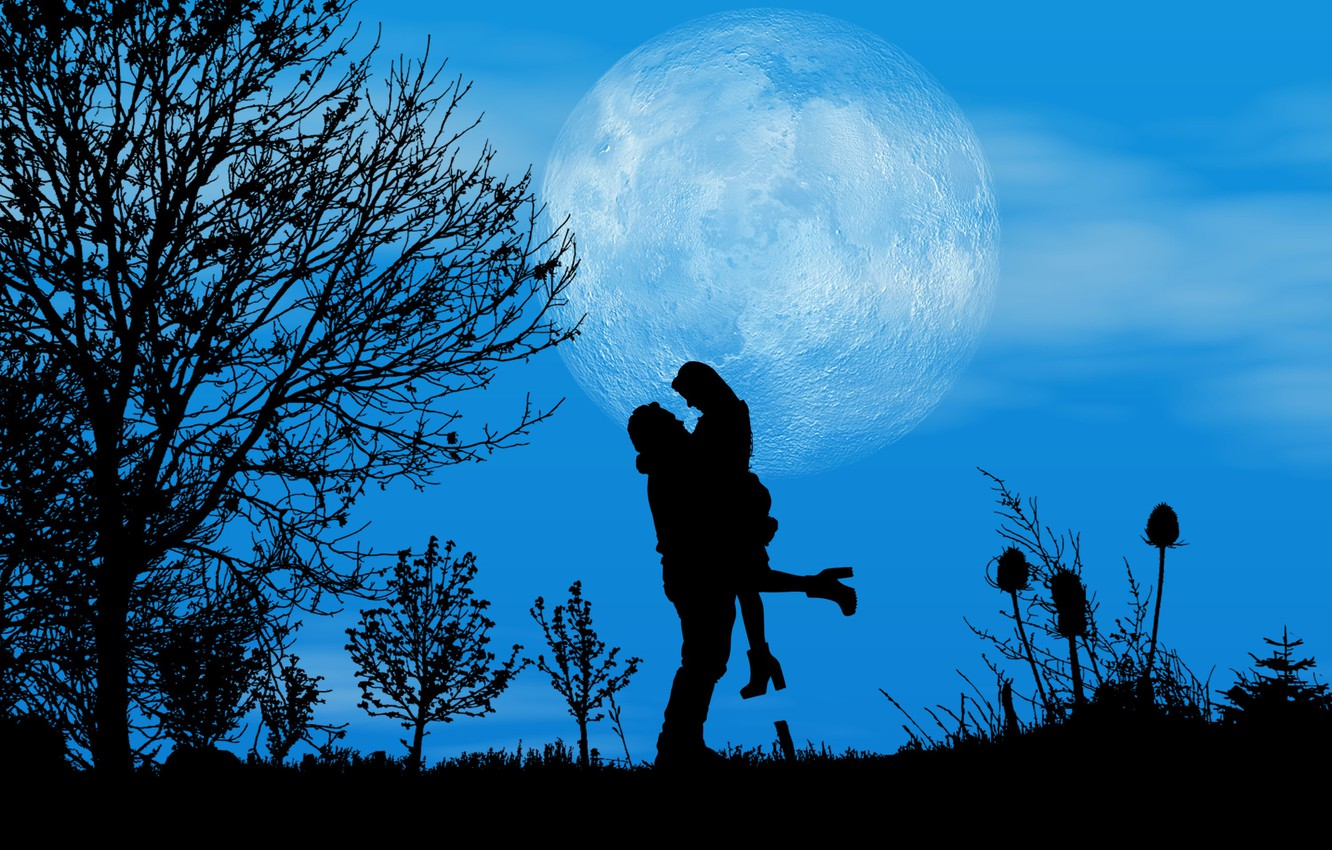 Photo wallpaper night, the moon, romance, pair, silhouettes, date