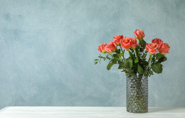 Photo wallpaper roses, vase, beautiful, Atlascompany