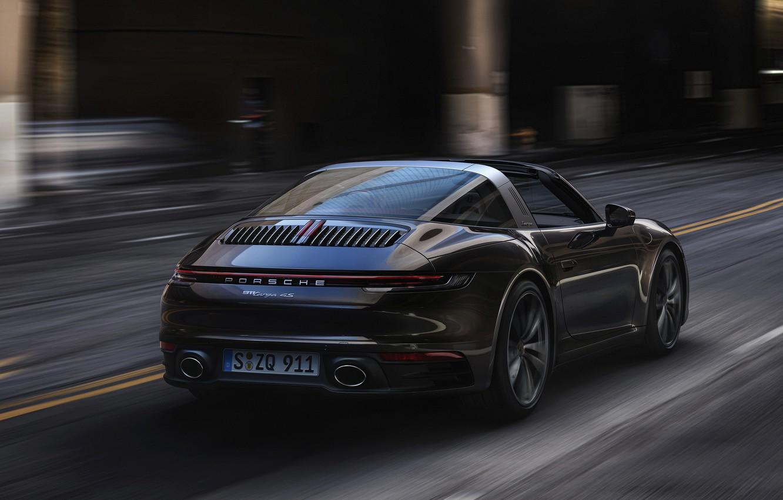 Photo wallpaper street, 911, Porsche, in motion, ass, Targa, 2020, 992, The 911 Targa 4S, 911 Targa