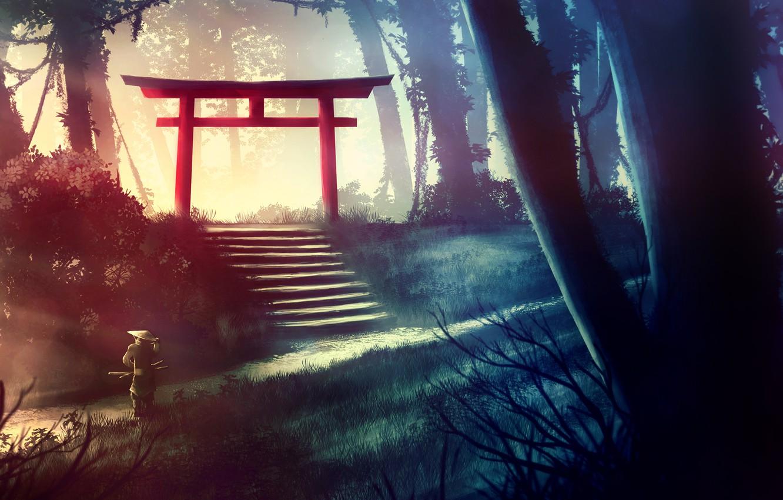 Photo wallpaper Japan, Forest, Japan, Jungle, Samurai, Arch, Samurai, Japanese, Shinto, Kvacm, by Kvacm, Michal Kváč, by …