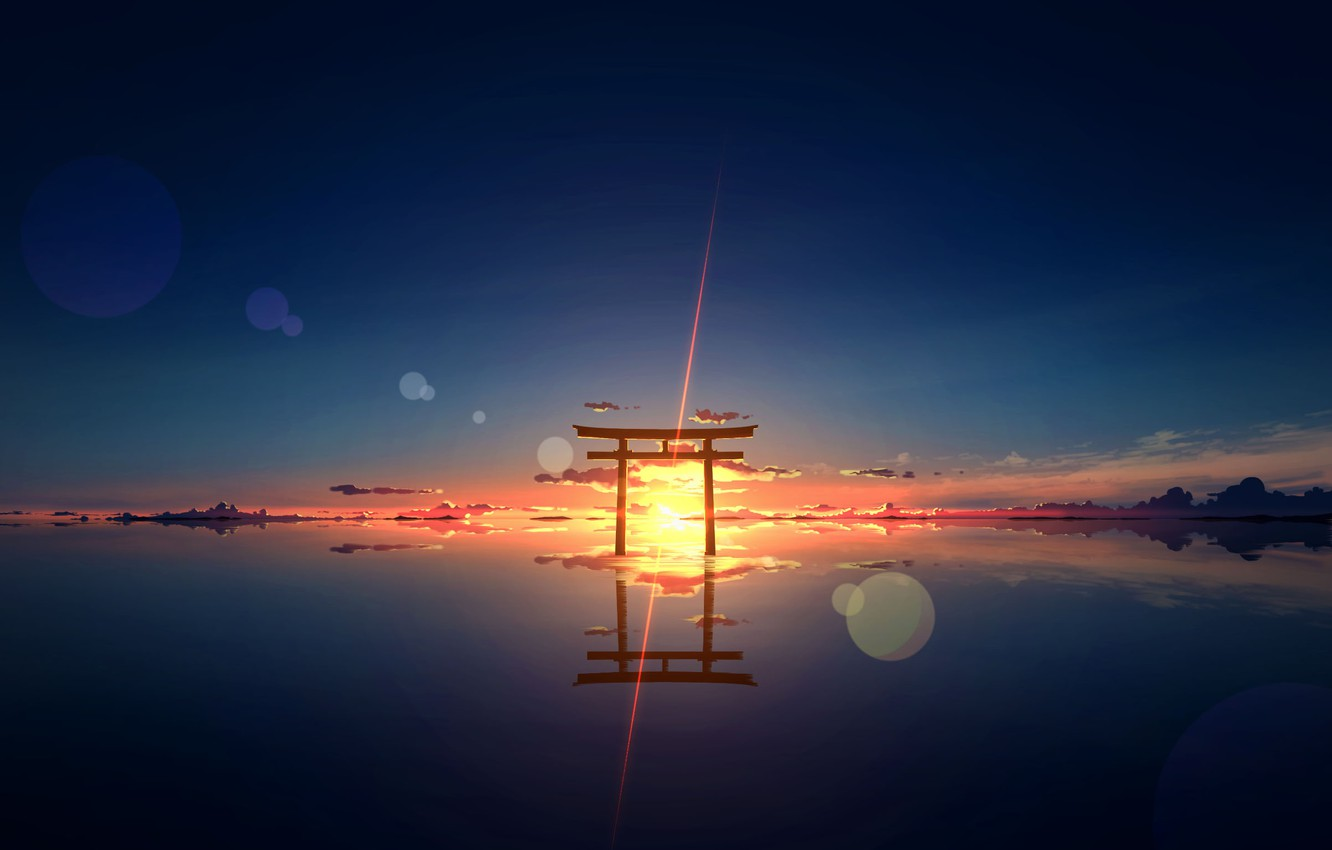 Wallpaper Water The Sun Sunset Nature Torii Images For Desktop