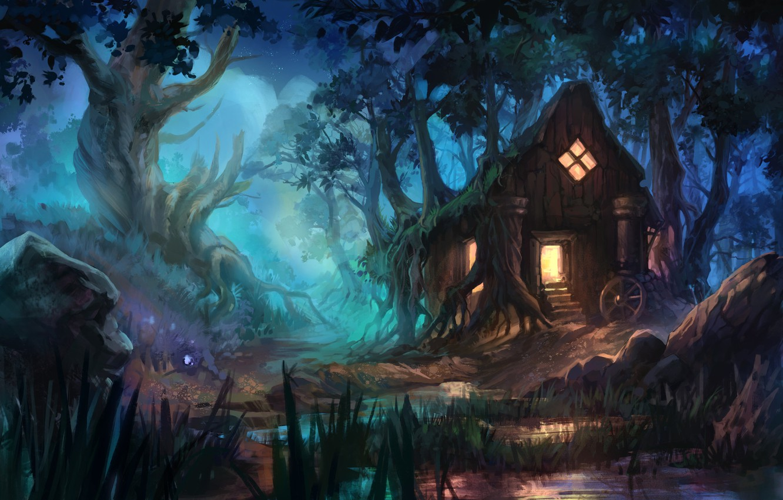 Photo wallpaper forest, fantasy, art, house, Anna Anikeyka, Enviroment#3