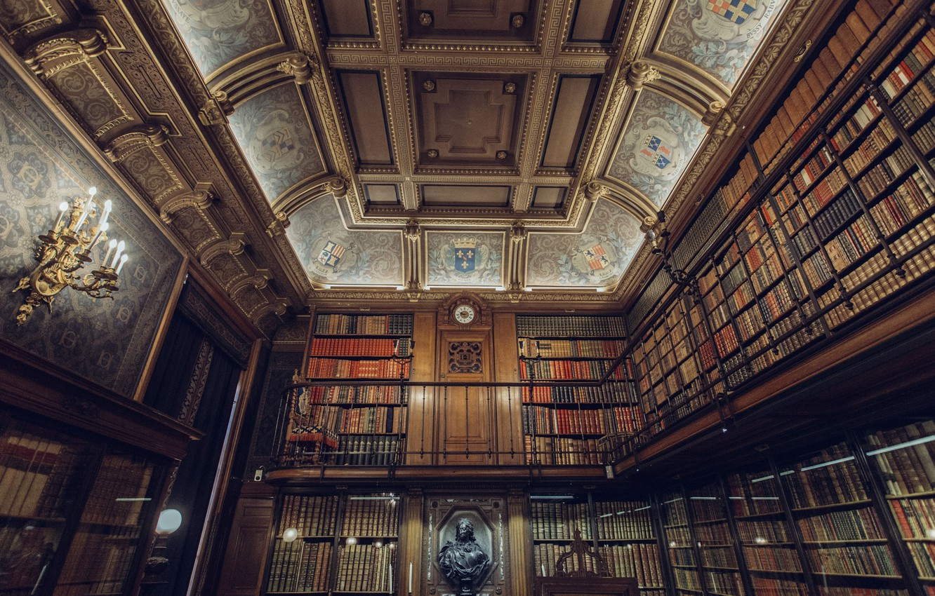 Photo wallpaper watch, books, candles, the ceiling, library, bust