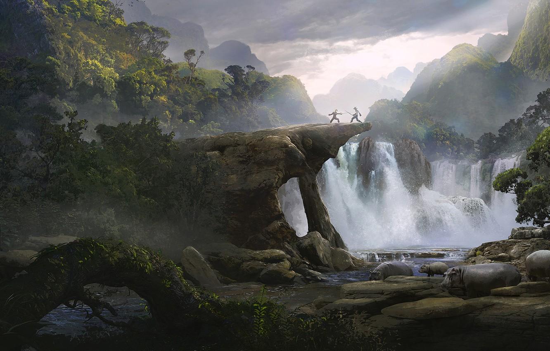 Photo wallpaper Waterfall, Solomon Kane, Guillem H. Pongiluppi, Duel in the Jungle