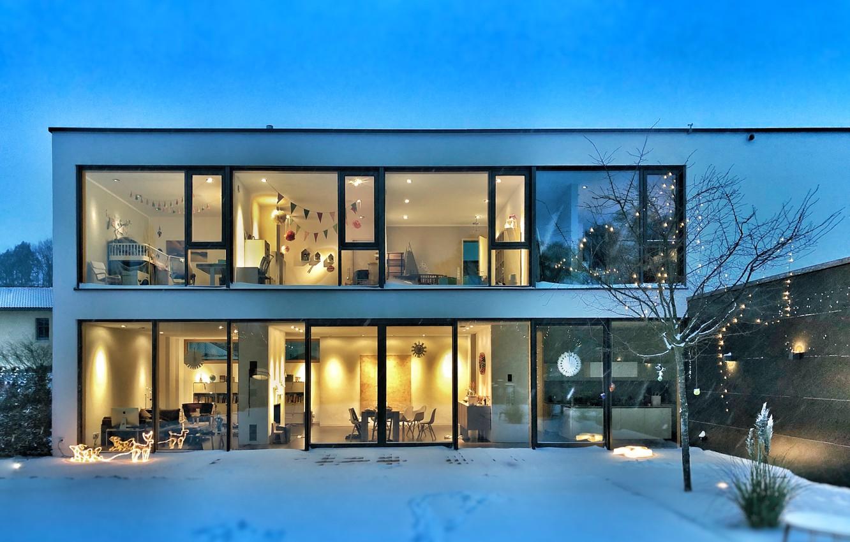 Photo wallpaper house, design, winter, arhitecture, bauhaus