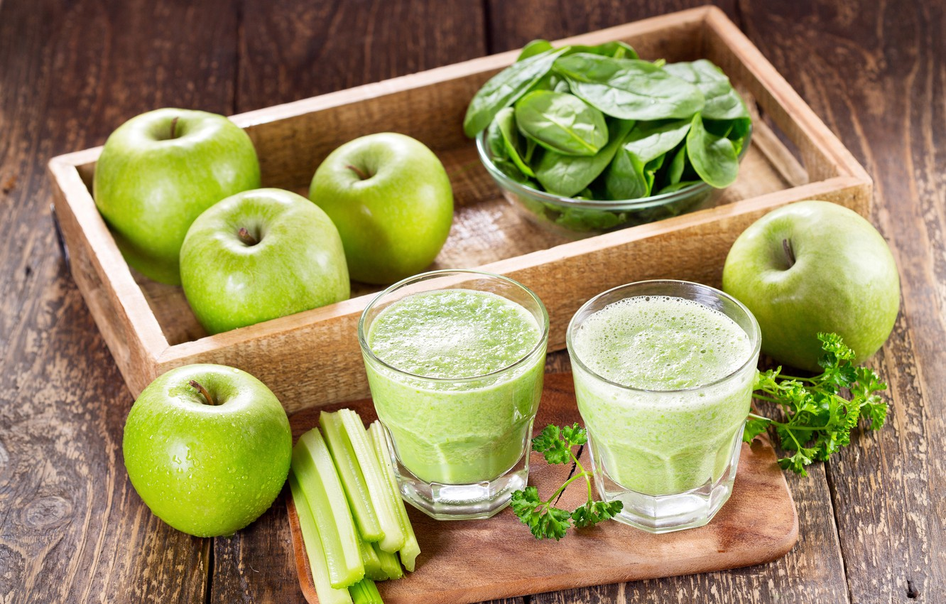 Photo wallpaper greens, apples, Board, glasses, fruit, tray, vegetables, bokeh, smoothies