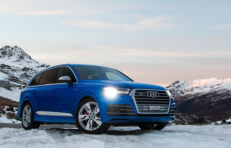 Photo wallpaper Audi, Blue, Snow, SQ7