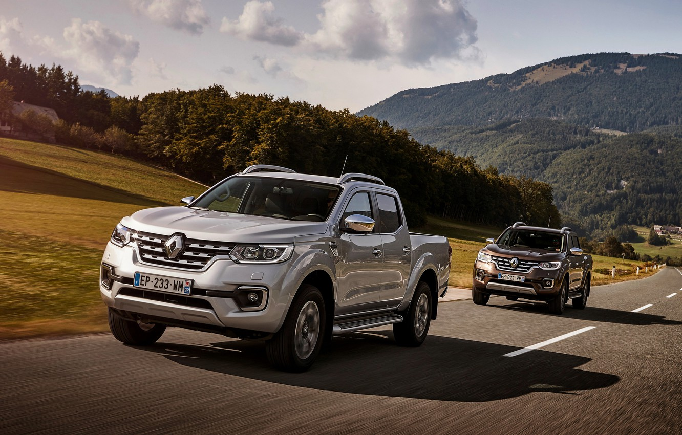 Photo wallpaper grey, track, Renault, brown, 4x4, 2017, Alaskan, pickups