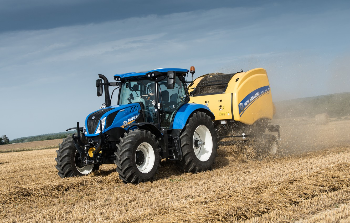 Photo wallpaper field, tractor, New Holland, T6.175