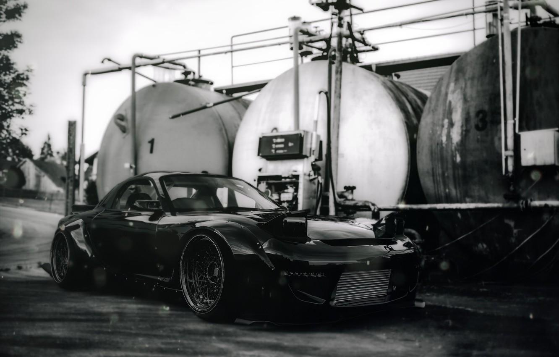 Photo wallpaper Auto, Machine, Mazda, RX-7, Mazda rx7, Mazda RX-7, RX7, Rocket Bunny, Black and white, Transport …